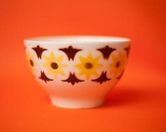 Vintage Bowl, ceramic SACAVÉM Bowl Breakfast collection, designs by stencil airbrush, kitchen, flowers, porcelain, Made in Portugal, 70's