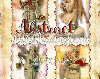 Vintage Snow Angels # 2 - 4 Artist Trading Cards - Tags - Digital Download