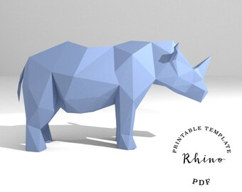 Printable DIY template (PDF).  Rhino low poly paper model template. 3D paper trophy. Origami. Papercraft. Cardboard animal.