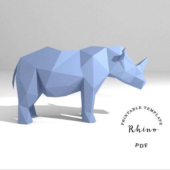 Printable diy template pdf rhino low poly paper model template rhino low poly paper model template 3d paper trophy origami papercraft cardboard animal from peolla on etsy studio maxwellsz