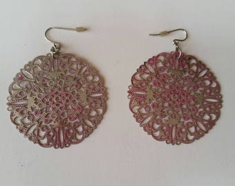 Pink and Aluminum Earrings