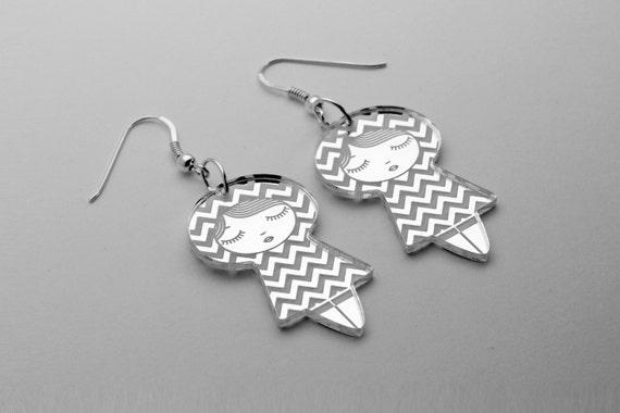 Chevron doll earrings - cute matriochka jewelry - kawaii kokeshi jewellery - sterling silver findings - lasercut mirror acrylic - graphic