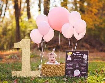 Princess Birthday Chalkboard--First Birthday Sign-- First Birthday Chalkboard-- Custom Digital File-- Custom Sign-- First Birthday