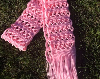 hand crocheted breast cancer awareness ribbon scarf - women accessory - October breast cancer awareness month - pink ribbon - crochet shawl
