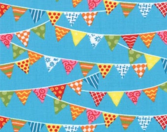 Bloomin' Fresh from Moda Fabrics - Full or Half Yard Bright Pennants Bunting on Sky Blue