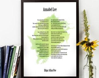 Annabel Lee, Edgar Allan Poe, Edgar Allan Poe Poetry Watercolor Quote Poster, Edgar Allan Poe Poetry Art, Inspirational quote, Poetry,