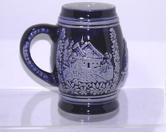 Vintage Cobalt Blue German Beer Stein Mug Cup