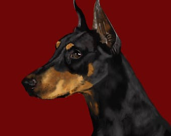 Doberman Pinscher, Dobie, Doberman Art, Print
