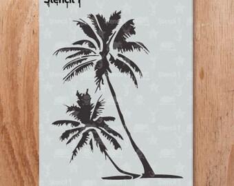 Palm Trees Stencil- Reusable Craft & DIY Stencils- S1_01_21 -8.5x11- By Stencil1