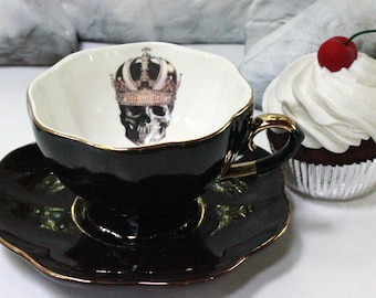 SELECTED SECONDS Black & Gold Skull or Custom Personalized Teacup, High Tea Victorian Steampunk, Skeleton Halloween China, Bespoke Wedding
