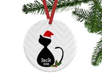 Cat Christmas Ornament, Cat Lover Gift, Personalized Cat Memorial, Cat Gifts, Santa Cat Decor