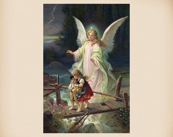 Guardian Angel With Children New 4x6 Vintage Card Image Photo Print AN11