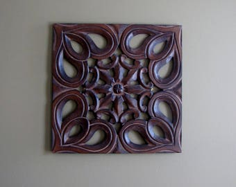 Hand Carved wooden mdf wall hanging,decor,panel art,12 x 12 inches.