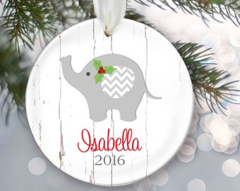 Elephant Baby ornament, Babys First Christmas Ornament, Personalized Christmas Ornament, Baby shower gift, Baby Girl or Baby Boy Gift OR723