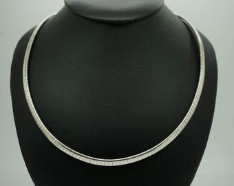 Ladies Solid Sterling Silver/925 Omega Link Chain Necklace; sku # 3504
