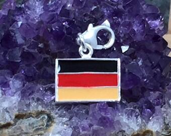 Enamel Flag Charm, Enamel Germany Flag Charm, German Flag, Flag Charm, Germany Charm, Sterling Silver, PS42453LC
