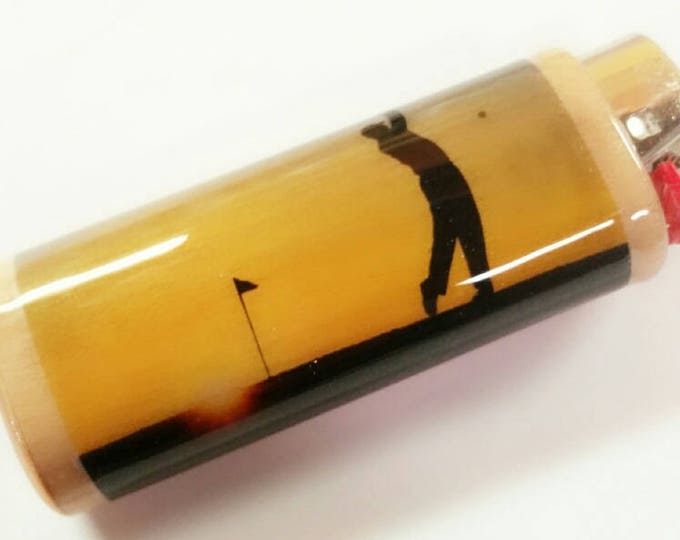Golf Golfing Golfer BIC Lighter Case Holder Sleeve Cover Golf Course
