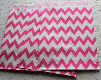 Hot Pink and White Zig Zag Chevron Paper Bag- Gift Bag, Notion Bag, Party Favor, Party Supply, Shop Supply, Treat Bag, Merchandise Bags