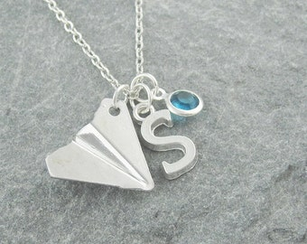 Paper plane necklace, silver origami plane, initial necklace, swarovski birthstone, personalized jewelry, birthstone jewelry, gift for her