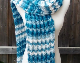 Turquoise and White Wool Scarf - Multicolor Wool Scarf - Chunky Knit Scarf - Long Scarf - Ready to Ship