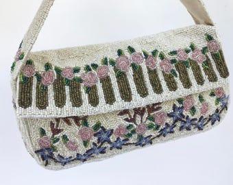 Vintage Floral Christina Beaded Bag, Bridal Purse, Vintage Beaded Evening Bag