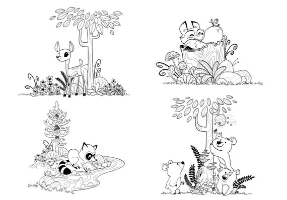 items similar to woodland forest animals coloring pages for children and adults fox coloring. Black Bedroom Furniture Sets. Home Design Ideas
