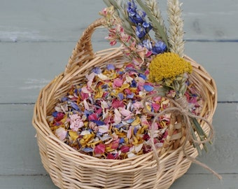 Flower Girl Basket and Biodegradable Confetti, Dried Natural Petals, MEADOW BRIGHTS BLEND