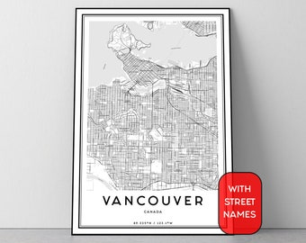 Vancouver map etsy vancouver map digital poster city map printable wall art vancouver canada black and white gumiabroncs Choice Image