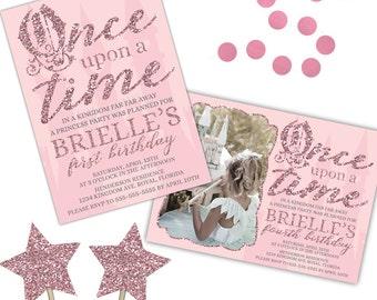 Princess Birthday Invitation, Once Upon a Time Birthday Invitation, Princess Party, Princess Invitation, Girl Birthday, Printable Invitation