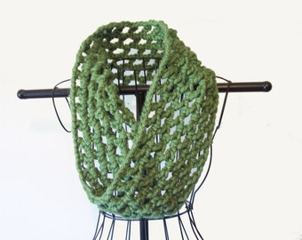 Autumn Cowl Sage Green Chunky Cowl Crochet Fashion Accessories Winter Fashion Ready To Ship