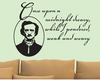 The Raven Vinyl Wall Decal, Edgar Allan Poe Quote with Portrait, Halloween Autumn Deocr