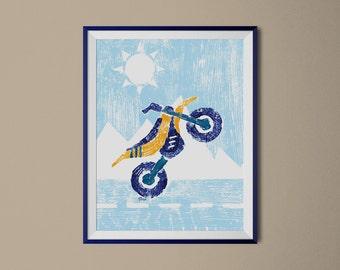 Dirt Bike Print, Motorcycle Nursery Art, Boys Room Decor, Kids Transportation Paintings, Dirtbike Decor