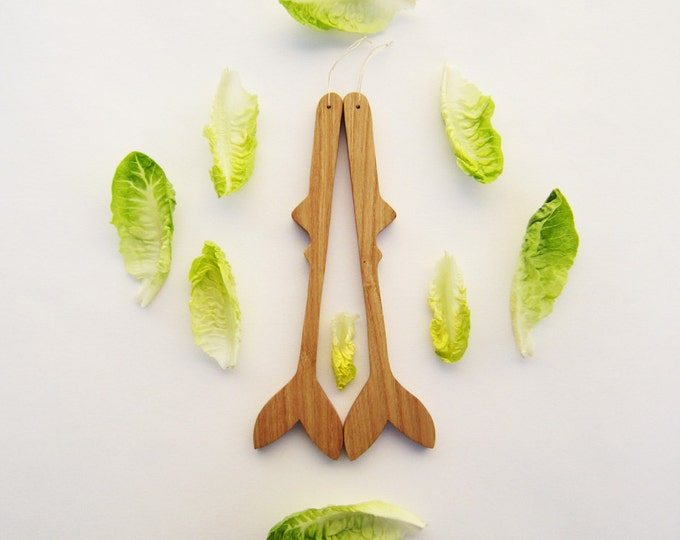 Wood cutlery, Fish salad spoons in natural wood