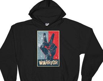 Retro Peace Sign, Peace Warrior, AntiWar Movement -Hooded Sweatshirt