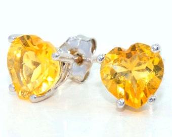 2 Carat Citrine Heart Stud Earrings .925 Sterling Silver Rhodium Finish