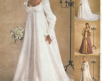 Alicyn Womens Stunning Renaissance Wedding Gown McCalls Sewing Pattern 2645 Size 10 12 14 Bust 32 1/2 to 36 FF Empire Waist Wedding Dress