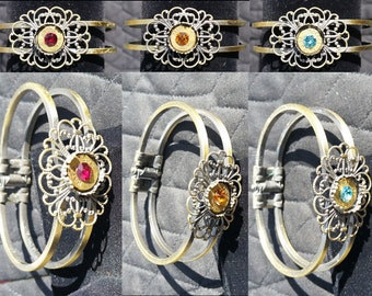 Bullet & Chrystal Antique Brass Flower Cuff Bracelet