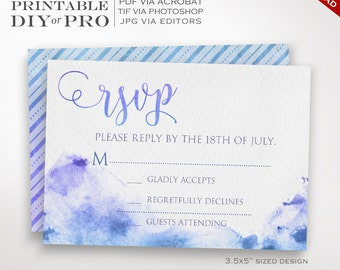 RSVP Wedding Template - Watercolor Wedding Response Card - Printable DIY Watercolor Painted r.s.v.p. Wedding Editable Custom Watercolor RSVP