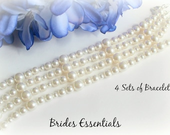 4 Set of Bridesmaid Bracelets, Bridesmaid Jewelry, Swarovski Pearl Bracelet Ivory and Silver Grey, Bridal Bracelet, Bridal Party Gift Set