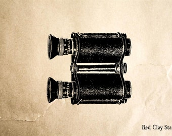Binoculars Rubber Stamp - 2 x 2 inches