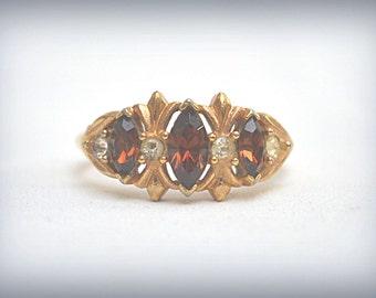 AVON ring, Topaz Ring, Adjustable Ring, Gold Tone Ring, Mulit-Stone Ring, AVON Jewelry, Vintage Avon Ring, Vintage Gold Ring, Size 7-9 Ring