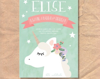 Printable Unicorn Birthday Invitation