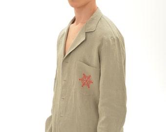 Christmas  Pajama  For Men/  Luxury Linen Pajama With Snowflake Handmade Embroidery On Pocket And On Bag/ Christmas Gift for Him
