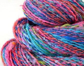 Handspun Yarn -  Hand Spun Merino Bamboo Silk  Yarn - Art Yarn - 1.8oz, 210yd, 18WPI