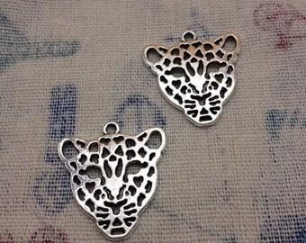 20 PCS 26mmx28mm antique silver leopard  head tiger head  Charm Pendant