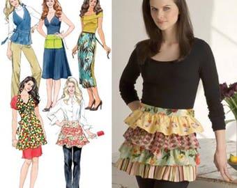 Womens Vintage Style Hostess Apron Full Apron Ruffle Half Apron Vendor Apron Sewing Pattern Simplicity 3752 Size S M L UNCUT
