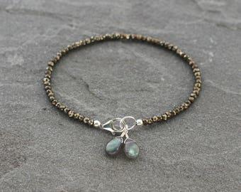 Pyrite Labradorite Bracelet, Pyrite Bracelet, Labradorite Bracelet, Beaded Bracelet, Sterling Silver, Beaded Pyrite Jewelry, Earthy Colors