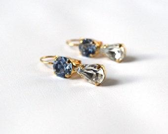 Light Blue Rhinestone Earrings, Sky Blue and Diamond Wedding Earring, Bridesmaid Earring, Crystal Jewelry, Teardrop Earrings, Baby Blue