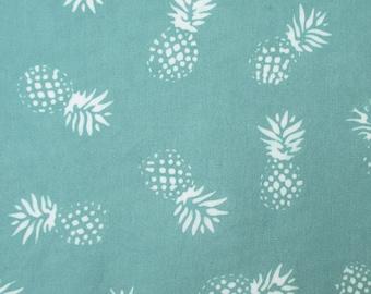 Fabric, Small Pineapples on Oasis, Jade and White, Hawaiian Tropical Fruit, Hoffman Indah Batik, One Yard or More