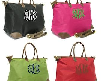 Monogrammed Large Nylon Tote Bag